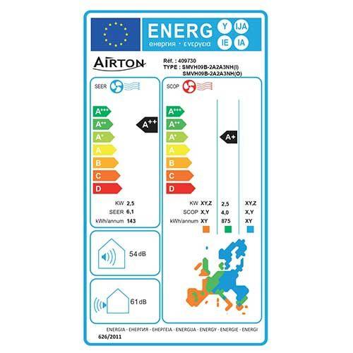 AIRTON Climatiseur fixe mono-split réversible - Etiquette NRJ