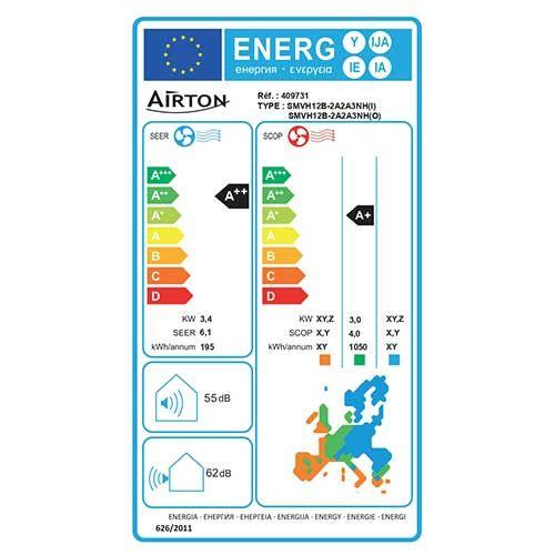 Climatiseur réversible monosplit 3400W/3600W AIRTON - Etiquette énergétique