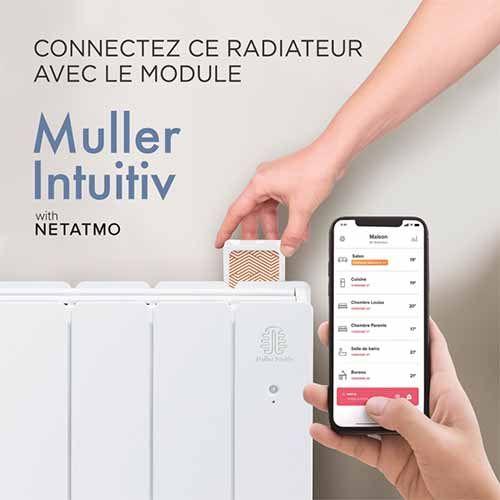 Radiateur connecté inertie réfractite 1500W Muller Intuitiv Netatmo