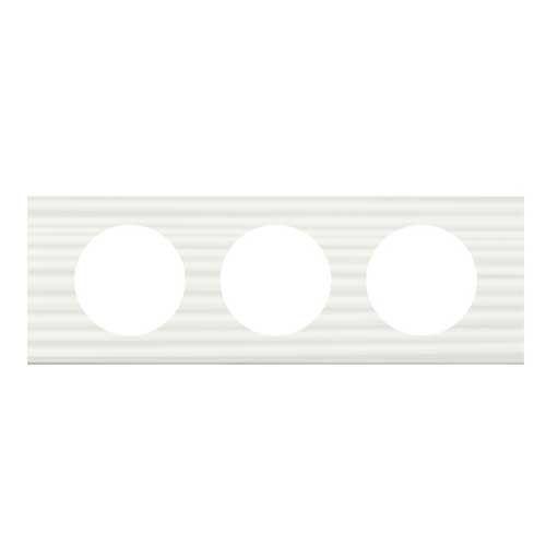 LEGRAND Céliane Plaque Matières 3 postes Corian cannelé - 069013
