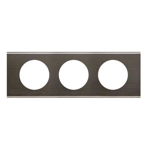LEGRAND Céliane Plaque Matières 3 postes Black nickel - 069033