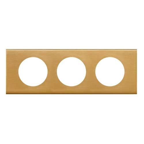 LEGRAND Céliane Plaque Matières 3 postes Bronze doré - 069133
