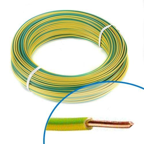 Fil électrique rigide HO7VU 2.5² vert / jaune - Couronne de 100m