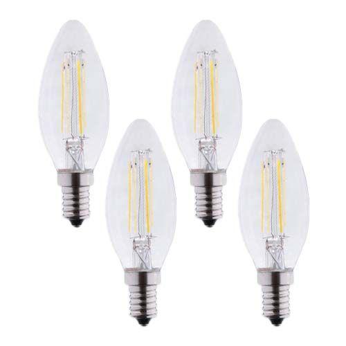 Lot de 4 Ampoules LED E14 230V 4W(=40W) 495lm 2700K flamme