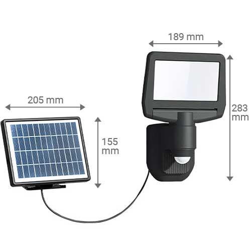 Dimensions du projecteur LED et de son panneau solaire