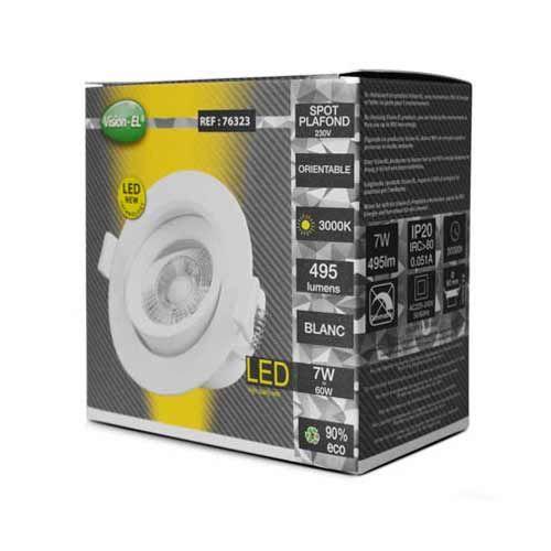 VISION-EL Spot LED encastrable et orientable 230V 7W 550lm 3000°K blanc - Boite