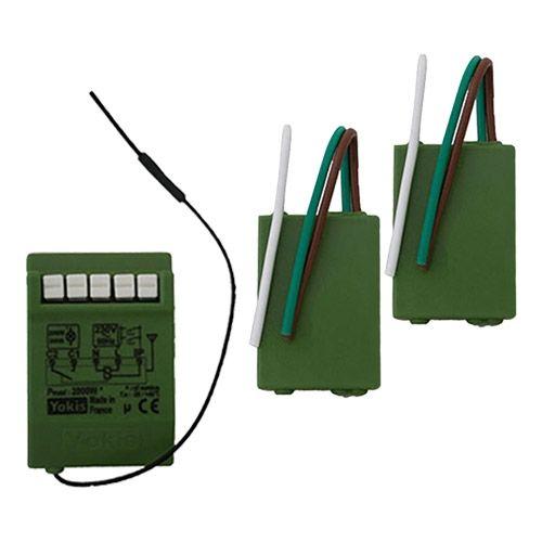 YOKIS Power Kit radio variateur va et vient 2 émetteurs radio et 1 télévariateur - KITRADIOVVP