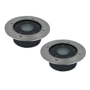 Lot de 2 spots solaires LED encastrables 120mm 1W 50lm 6000°K IP67 Inox