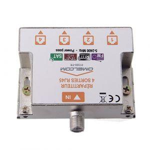 IKEPE Répartiteur TV 1 entrée coaxiale et 4 sorties TV sur RJ45