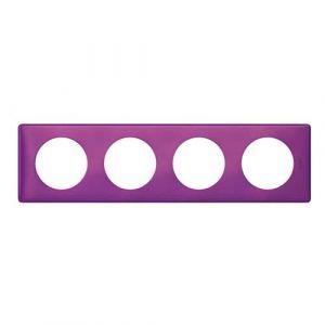 LEGRAND Céliane Plaque Métal 4 postes Violet irisé - 068714