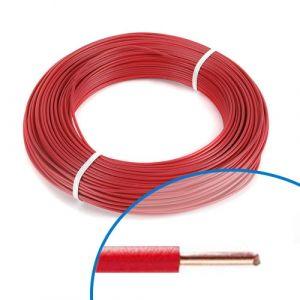 Fil électrique rigide HO7VU 2.5² rouge - Couronne de 100m