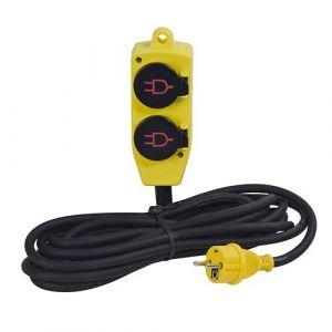 Rallonge électrique avec bloc 4 prises à clapet STANLEY 5m H07RN-F 3G1,5 - 227359