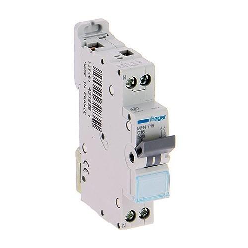 HAGER Lot de 12 disjoncteurs électriques à borne à vis 16A - MFN716 - 2