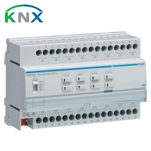 HAGER KNX Actionneur de commutation 16 sorties multifonctions 16A 230V - TXM616D