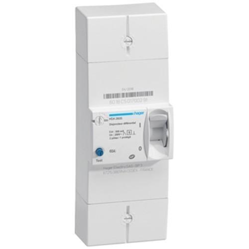 HAGER Disjoncteur d'abonné monophasé 60A 500mA différentiel sélectif - HDA260SF