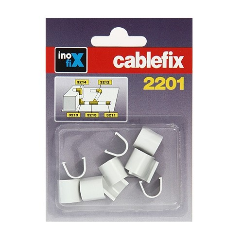 INOFIX Cablefix Accessoires droits 8 x 7 mm pour gaine adhésive - Blanc - 2