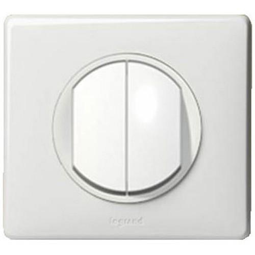 interrupteur double va et vient legrand c liane complet blanc. Black Bedroom Furniture Sets. Home Design Ideas