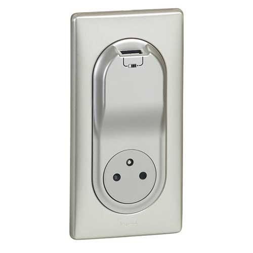 LEGRAND Céliane Enjoliveur Prise de courant + chargeur USB titane - 068416 - 4