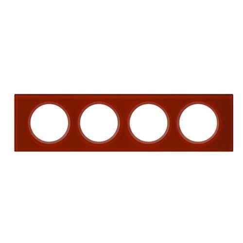 LEGRAND Céliane Plaque Matières 4 postes Verre carmin - 069474