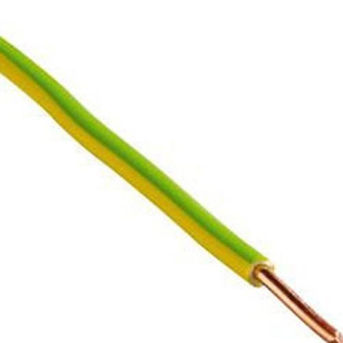 Fil électrique rigide HO7VU 2.5² vert / jaune - Couronne de 100m - 2