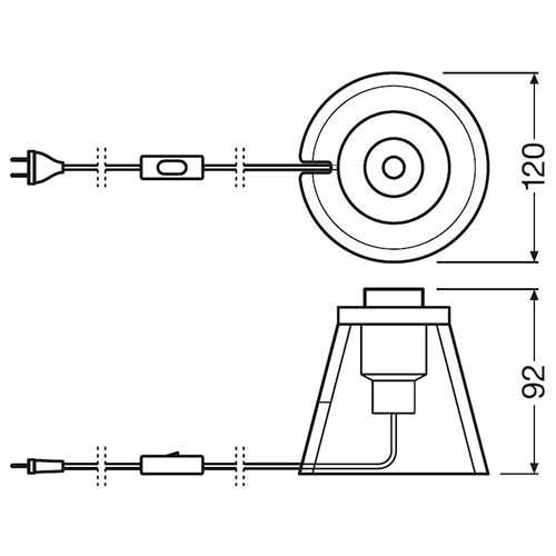 Lampe de chevet OSRAM E27 noir design industriel Vintage Edition 1906