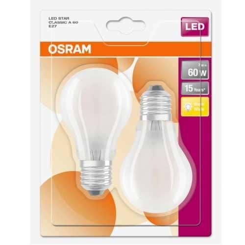 OSRAM Lot de 2 Ampoules LED en verre dépoli E27 230V 7W 806lm blanc chaud standard