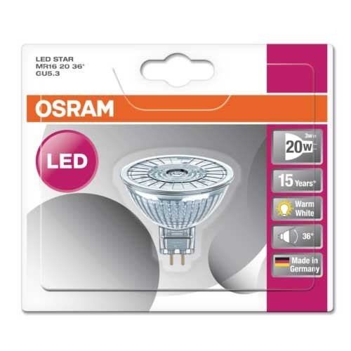 OSRAM Spot LED GU5.3 36° 2,9W 230lm 12V MR16