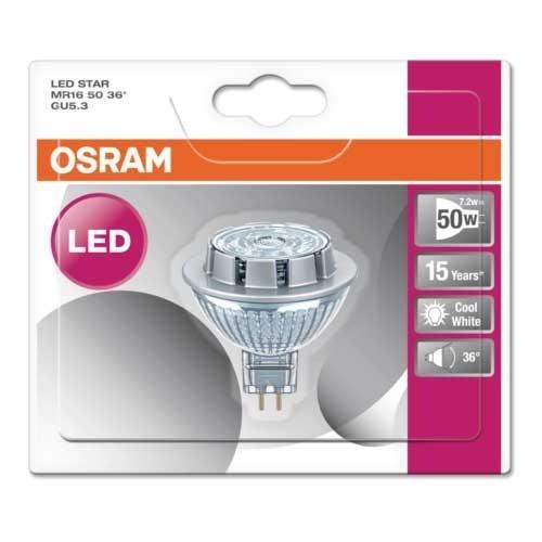 OSRAM Spot LED MR16 GU5.3 36° 12V blanc froid 7,2W 621lm - 3
