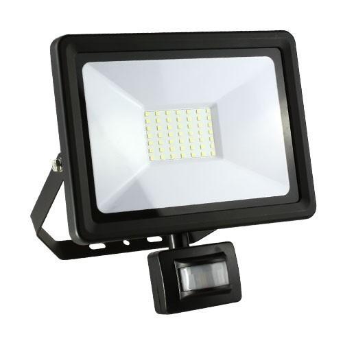 Projecteur extérieur LED extra plat à détection 230V 30W 2700lm 4000°K noir