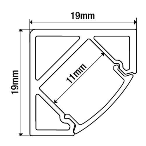 Lot de 2 - Profil aluminium d'angle pour ruban LED - 1m