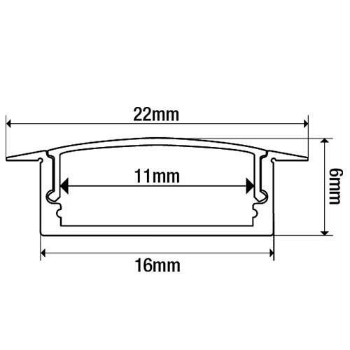 Lot de 2 - Profil aluminium à encastrer pour ruban led - 1m