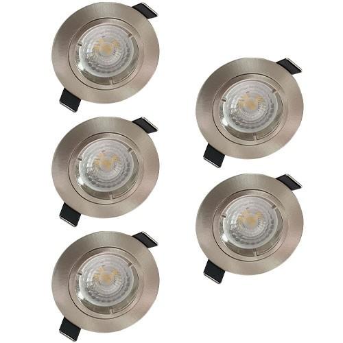 Lot de 5 spots LED encastrables 85mm GU10 230V 5x5W 380lm 2700°K alu brossé