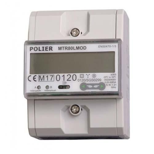 POLIER Compteur d'énergie 80A Tétrapolaire avec Ecran LCD Certifié MID - Modbus
