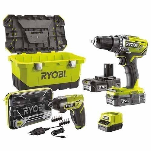 RYOBI Perceuse visseuse sans fil 18V + tournevis électrique 4V + accessoires - R18DD3-220ET