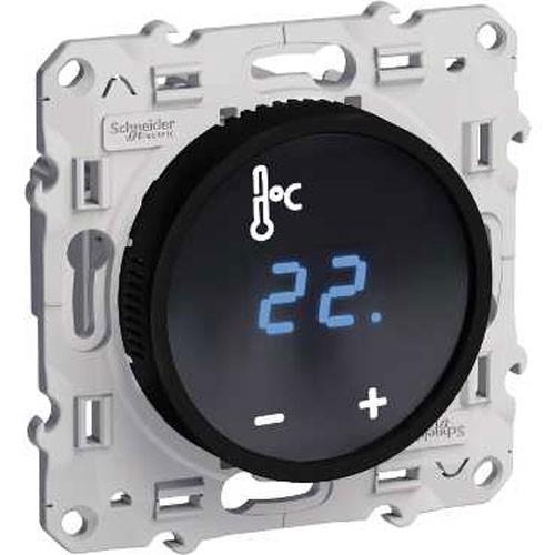 Mécanisme SCHNEIDER Odace thermostat fil pilote à écran tactile noir - S520509