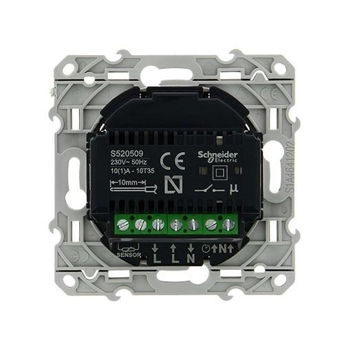 Mécanisme thermostat SCHNEIDER Odace fil pilote à écran tactile noir - S520509