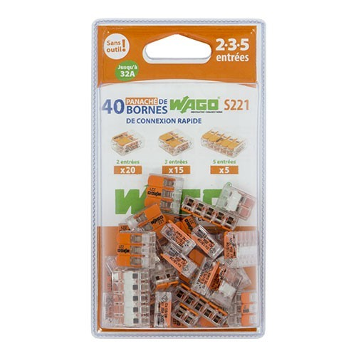 WAGO S221 Blister panaché de 40 bornes de connexion automatique 2, 3 et 5 fils - 2