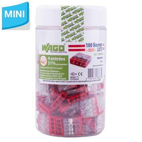 WAGO Pot de 100 mini-bornes de connexion 4 fils S2273