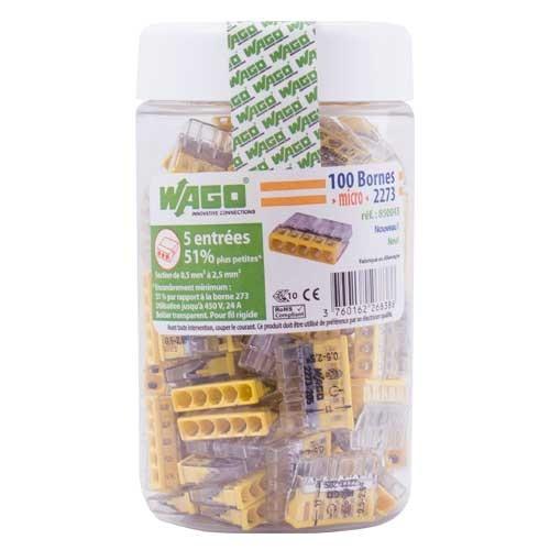 WAGO Pot de 100 mini-bornes de connexion 5 fils S2273 - 2