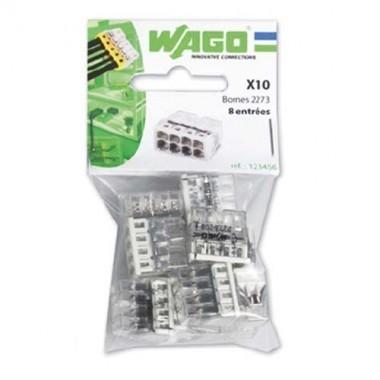 WAGO Sachet de 10 mini-bornes de connexion 8 fils S2273 - 2
