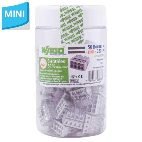 WAGO Pot de 50 mini-bornes de connexion 8 fils S2273
