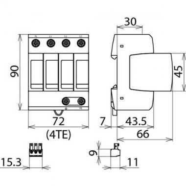 parafoudre dehn t trapolaire d brochable type 2 40ka 230v 952312. Black Bedroom Furniture Sets. Home Design Ideas