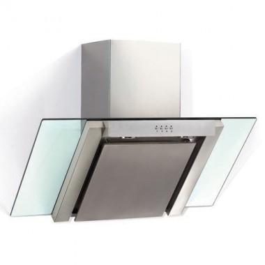 DMO Hotte décorative de cuisine en verre incliné 90 cm 700m³/h inox