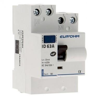 EUROHM Interrupteur différentiel 63A 30mA type A 3 modules 230V - 23363