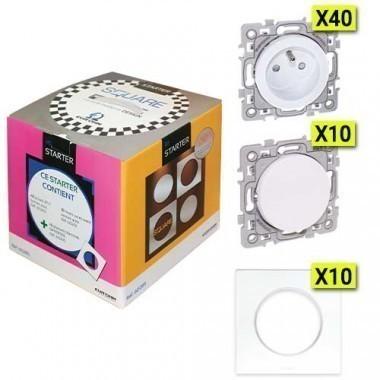 EUROHM SQUARE Pack Starter 40 prises + 10 va et vient + 10 plaques simples blanc - 60285