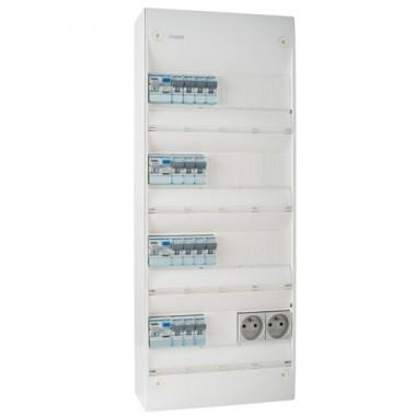 HAGER Gamma Tableau électrique prééquipé 4 rangées 2ID 40A 2ID 63A 14 disjoncteurs