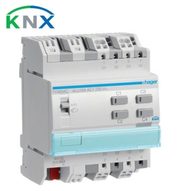 HAGER KNX Actionneur de commutation 4 sorties multifonctions 16A 230V - TYA604C