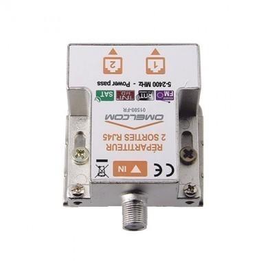 IKEPE Répartiteur TV  2 sorties TV sur RJ45 et 1 entrée coaxiale