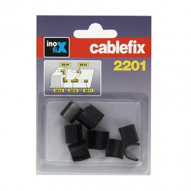 INOFIX Cablefix Accessoires droits 8 x 7 mm pour gaine adhésive - Noir - 2