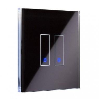 IOTTY Interrupteur double connecté tactile WIFI en verre noir - LSWE22B